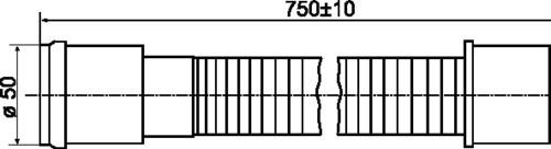 Fleksibilni HT - cevni priključek SANIT, fi:50 D:750