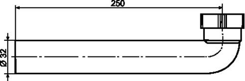 Odtočna cev SANIT 90° fi: 32, D: 250