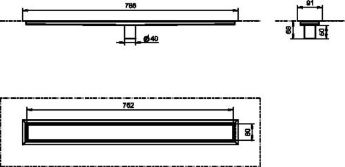 Tuš kanaleta SANIT iz nerjavečega jekla 50 brez rozete navpični odtok 750/50