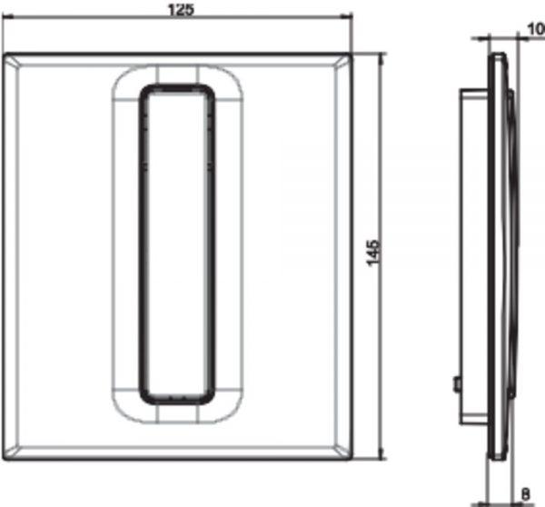 Tipka za pisoar INEO BRIGHT, plastična, mat krom