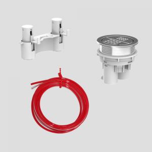 WC - aktivirna tipka SANIT 2K pneumatska, možnost montaže vstran od splakovalnika na pohištvo, krom