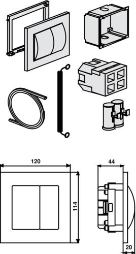 WC - aktiviranje SANIT 2K pnevmatsko, belo