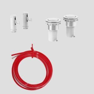 WC - aktiviranje SANIT 2K pnevmatsko, okrogla tipka, krom