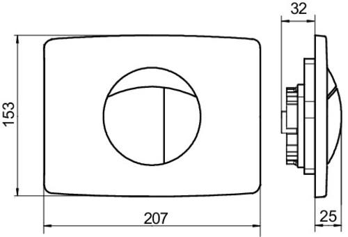 Aktivirna tipka SANIT za dvokoličinsko splakovanje (9/3 ali 6/3), za elemente z majhno odprtino, bela