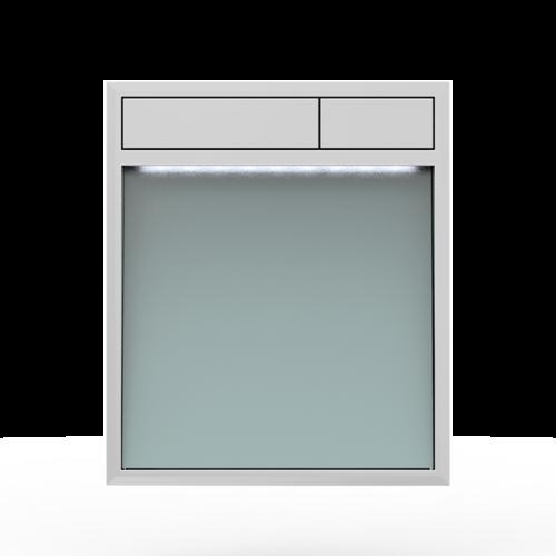 Aktivirna tipka SANIT LIS z LED lučjo, srebrno sivo steklo - sijaj crom