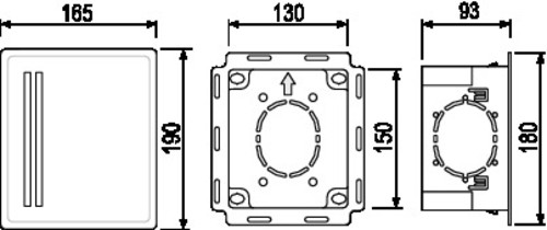 Vzidna škatla SANIT iz plastike Š:130 x V:150 x D:93, bela