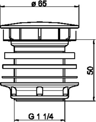 Zgornji del sifona SANIT G1 1/4 fi65 D:50
