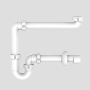 Prostorsko omejitveni sifon SANIT za umivalnik G1 1/4 priključek fi:40