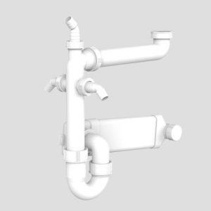 Varčevalec prostora SANIT s 3x odtočnim priključkom G1 1/2 fi:40/50 mm