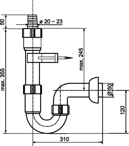 Cevni priključek SANIT z izlivom G1 1/2 fi: 50