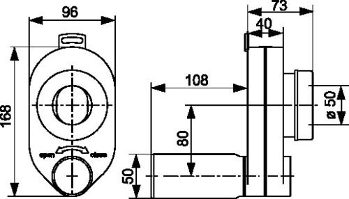 Sesalni sifon za pisoar SANIT fi: 50/50 vodoravni priključek