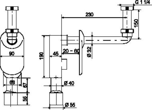 Podometni sifon SANIT za umivalnik G1 1/4 fi: 40/50
