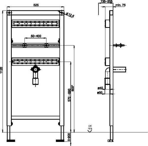 Element za umivalnik SANIT INEO za nadometno stensko armaturo gradbene višine 1120
