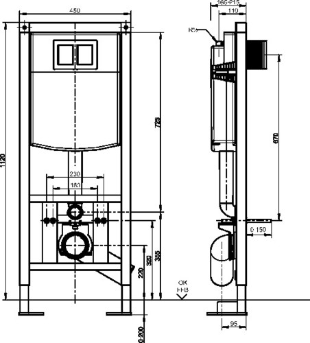 WC-Element SANIT INEO PLUS prostostoječi gradbene višine 1120