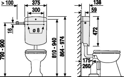 Splakovalnik SANIT BONITO DUO (6-9L), nizka montaža, s kotnim ventilom, PERGAMON