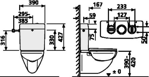 Splakovalnik SANIT 961/2V (topstar duo), 6 - 9L s kotnim ventilom, beli