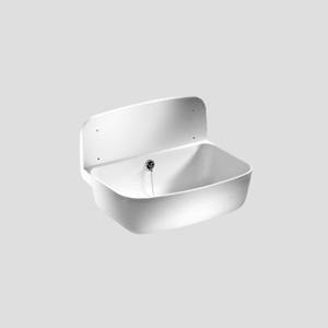 Stenski umivalnik SANIT s prelivom, beli